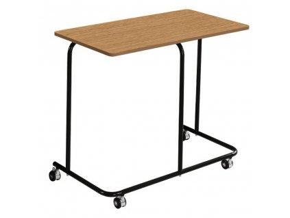 Pojízdný příruční stolek, dub / černá, ALLYRA