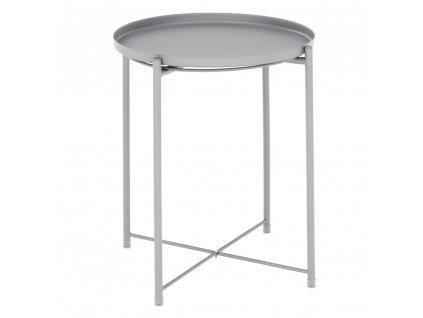 Příruční stolek s odnímatelnou táckem, šedá, TRIDER