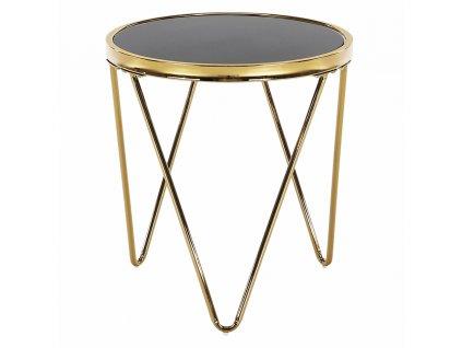 Příruční stolek, gold chrom zlatá / černá, VALERO