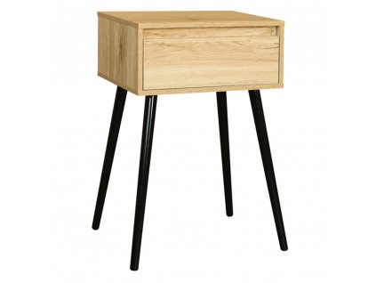Příruční/noční stolek, dub/černá, ALYSANDRA TYP 1