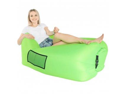 Nafukovací sedací vak/lazy bag, zelená, LEBAG