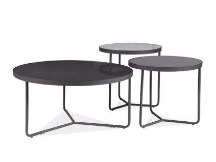 Stolek Artemida šedý+černý / černý (sada)