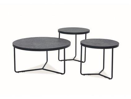 Stolek Demeter šedý (efekt betonu) / černý (sada)