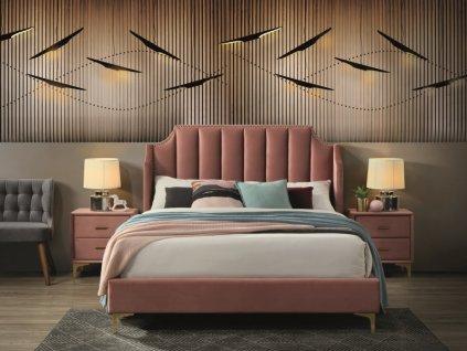 Postel Monako samet 160x200 barva antická růžová/zlatá čalounění Bluvel 52