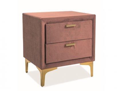 Skříňka noční Monako samet barva antická růžová/zlatá čalounění Bluvel 52