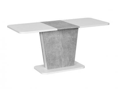 Stůl Calipso bílý mat / šedý (efekt betonu) 110(145)x68,6