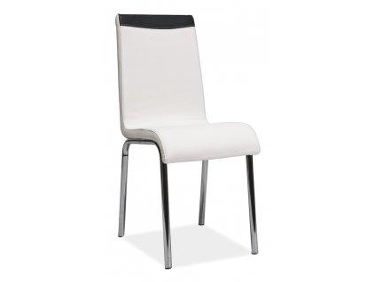 Židle H161 chrom/bílá/černá zadní část koženka