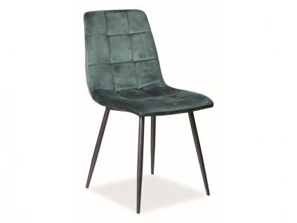 Židle Mila samet černá kostra/zelená Bluvel 78