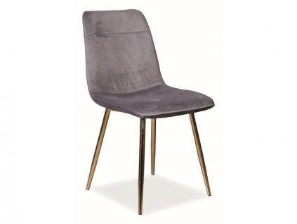 Židle Eros samet zlatá kostra/šedá Bluvel 14