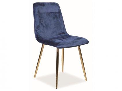 Židle Eros samet zlatá kostra/tmavě modrá Bluvel 86