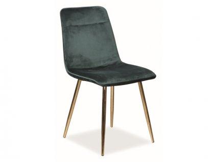 Židle Eros samet zlatá kostra/zelená Bluvel 78