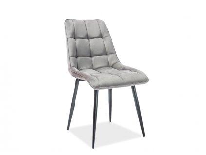Židle Chic samet černá kostra/šedá Bluvel 14