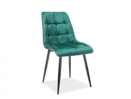 Židle Chic samet černá kostra/zelená Bluvel 78