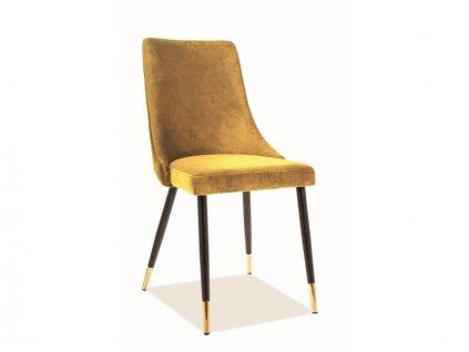 Židle Piano samet černá/zlatá kostra/kari Bluvel 68