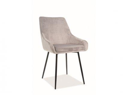 Židle Albi samet černá kostra/světle šedá polstrování č.148