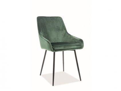 Židle Albi samet černá kostra/zelená polstrování č.119