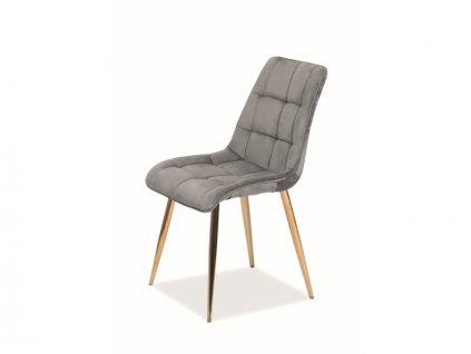 Židle Chic samet zlatá kostra/šedá Bluvel 14