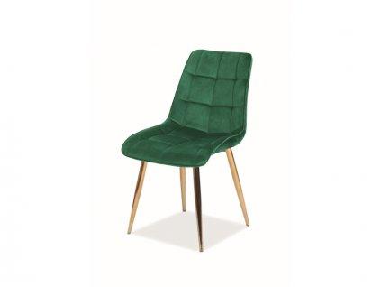 Židle Chic samet zlatá kostra/zelená Bluvel 78