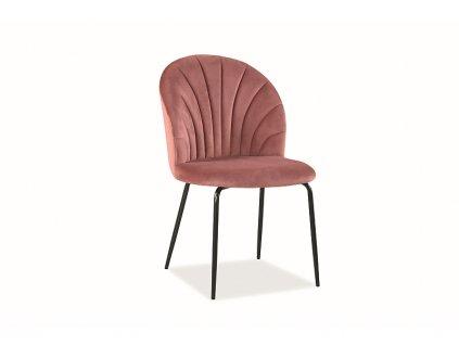 Židle Lola samet černá kostra/antická růžová Bluvel 52