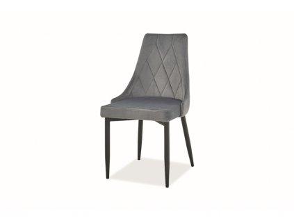 Židle Trix B samet černá kostra/šedá Bluvel 14