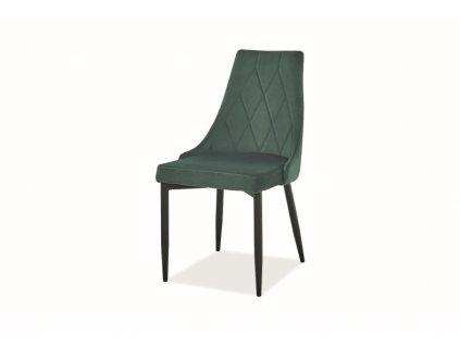 Židle Trix B samet černá kostra/zelená Bluvel 78