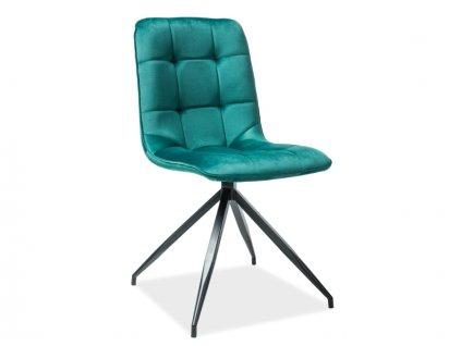 Židle Texo samet černá kostra/zelená Bluvel 78