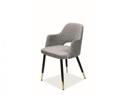 Židle Franco samet černá/zlatá kostra/šedá Bluvel 14