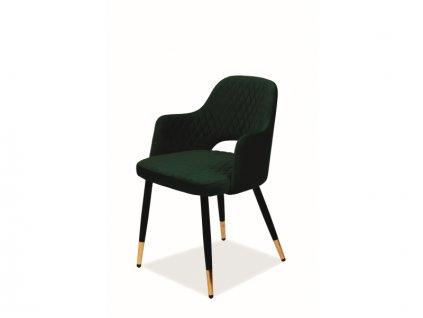Židle Franco samet černá/zlatá kostra/zelená Bluvel 78