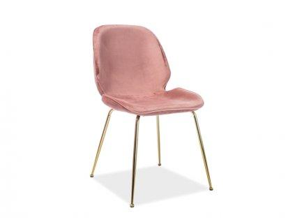 Židle Adrien samet zlatá kostra/antická růžová Bluvel 52