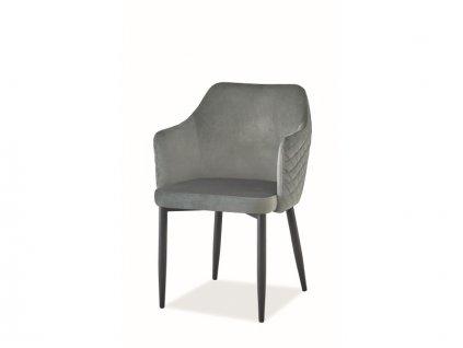 Židle Astor samet černá kostra/šedá Bluvel 14