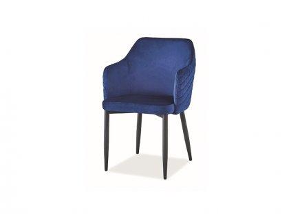 Židle Astor samet černá kostra/tmavě modrá Bluvel 86