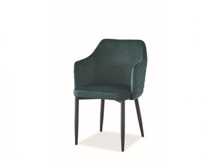 Židle Astor samet černá kostra/zelená Bluvel 78