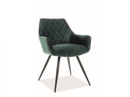 Židle Linea samet černá kostra/zelená Bluvel 78