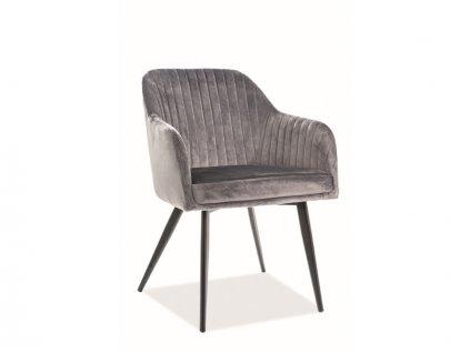 Židle Elina samet černá kostra/šedá polstrování č. 72