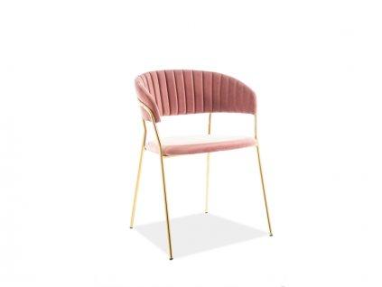Židle Lira samet zlatá kostra/antická růžová polstrování č.151
