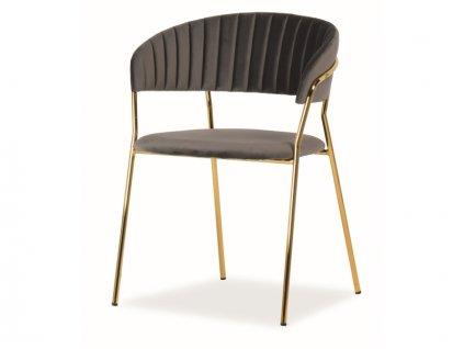 Židle Lira samet zlatá kostra/šedá polstrování č.152