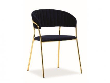 Židle Lira samet zlatá kostra/tmavě modrá polstrování č.154
