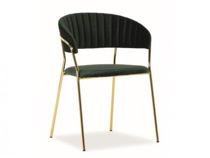 Židle Lira samet zlatá kostra/zelená polstrování č.153