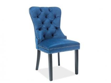 Židle August samet černá kostra/tmavě modrá Bluvel 86