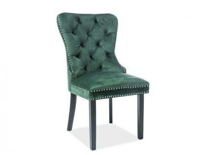 Židle August samet černá kostra/zelená Bluvel 78