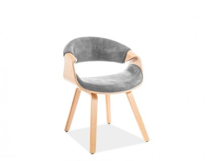 Židle Dakota samet dub kostra/šedá polstrování č.168