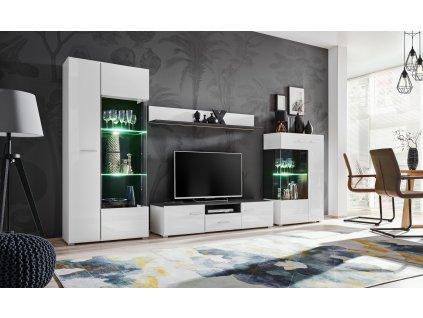 Solido nábytková stěna norská sosna černá/bílá hgo