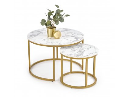 Paola sada 2 stolek, mramor / zlatý