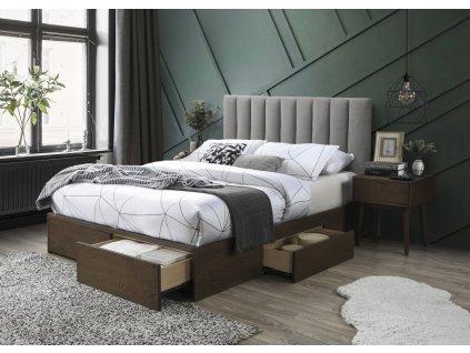 Gorashi 160 postel se zásuvkami šedá/ořech