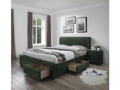 Modena 3 postel se zásuvkami tmavě zelená samet