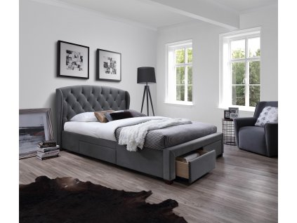Sabrina postel se zásuvkami šedá