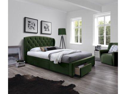Sabrina postel se zásuvkami tmavě zelená