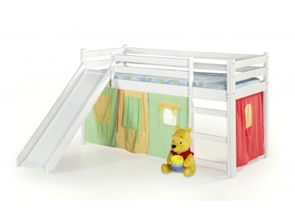 Neo Plus - postel patrová se skluzavkou a matrací - bílá