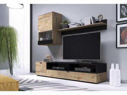 Snap nábytková stěna dub Lefkas/ černá mat
