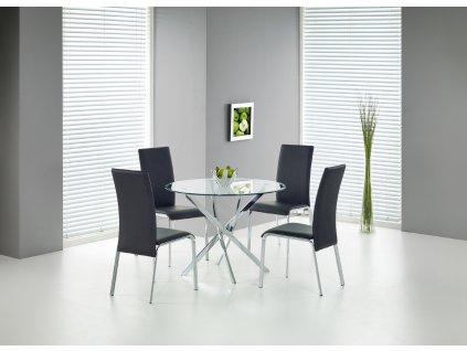 Raymond stůl, deska - transparentní, nohy - chrom
